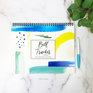 Bill Tracker™ Journals! These 12 month journals are perfect for anyone!   Our one of a kind, unique Bill Tracker™ Journal helps you pay your bills on time, and have everything all in one place! It is so easy to use as you can start anytime! All your bills, notes, accounts and subscriptions + yearly bills in one place helps you stay organized