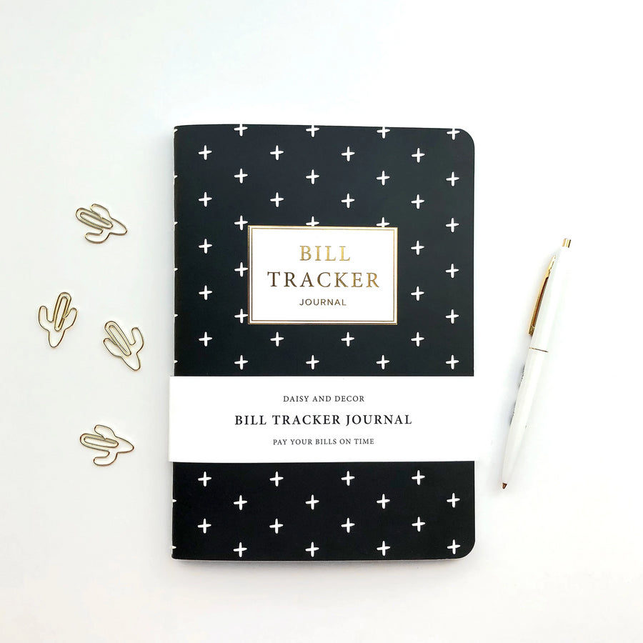 Daisy and Decor, Undated Planner, Bill Tracker Journal, The original Bill Tracker Journal, black and white notebook, green leaves, how to budget, how to keep track of bills, 2020 Planner, New years resolution pay bills on time
