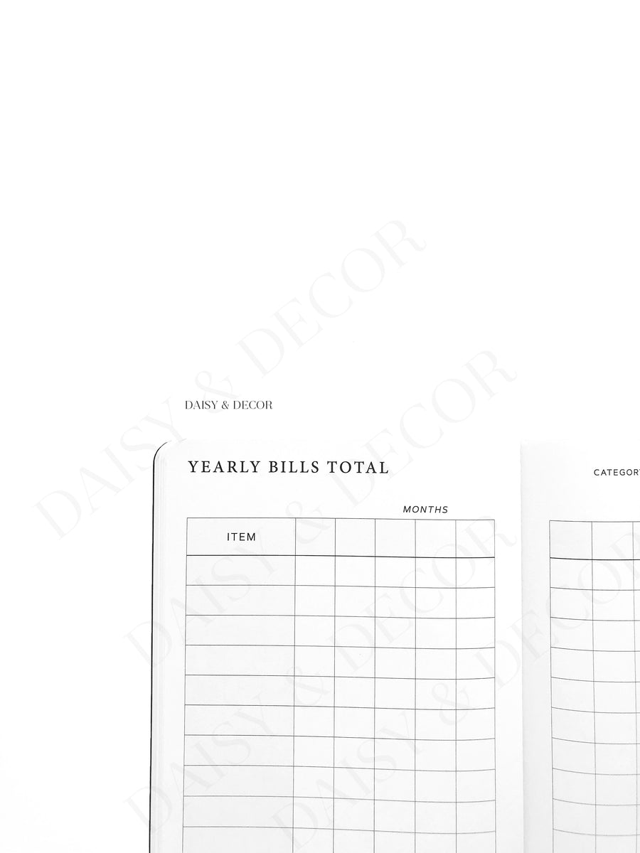 Daisy and Decor, Undated Planner, Bill Tracker Journal, The original Bill Tracker Journal, black and white notebook, green leaves, how to budget, how to keep track of bills, 2020 Planner, New years resolution pay
