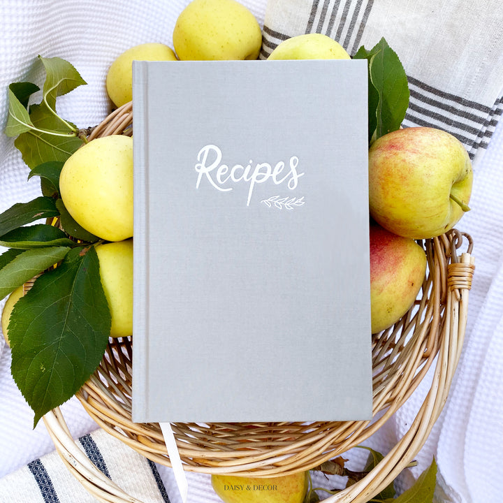 Recipe book, hardcover christmas gift for her Daisy and Decor Recipe journal, linen cookbook, keepsake journal, grey recipe book, Recipes journal, linen book, wedding gift, Christmas gift, Memories book, Keepsake journal, grey recipe journal,