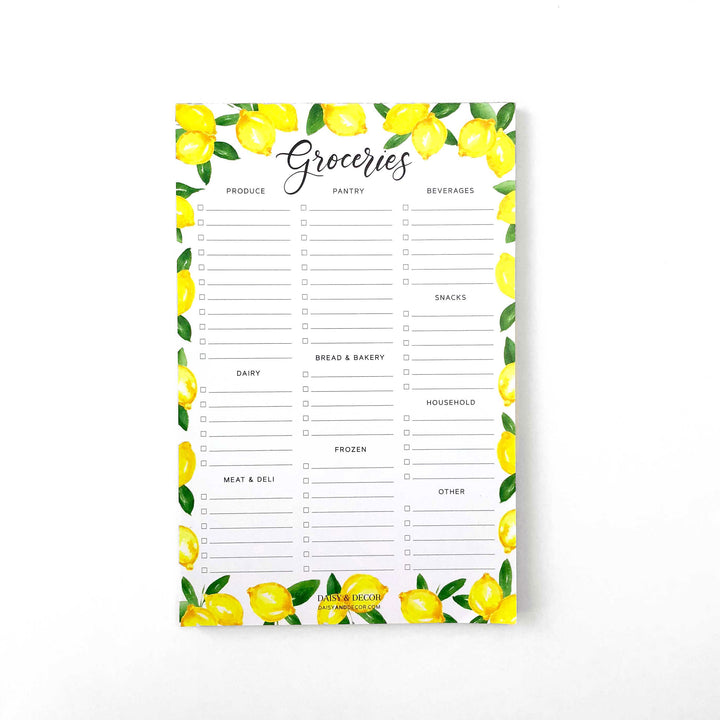 Daisy and decor, groceries notepad, lemons kitchen decor, lemons notepad, grocery list, produce, pantry, farmhouse decor,