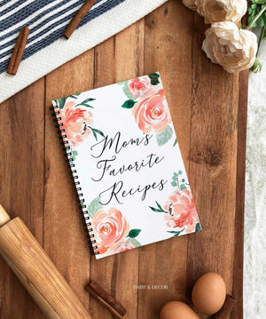 """Mom's Favorite Recipes"" on front cover   6x9"" Journal  Kitchen Recipe Journal  Amazing gift for anyone who loves to cook! Perfect gift for that special someone!  DETAILS      Space for 80 recipes (full page for each recipe)"