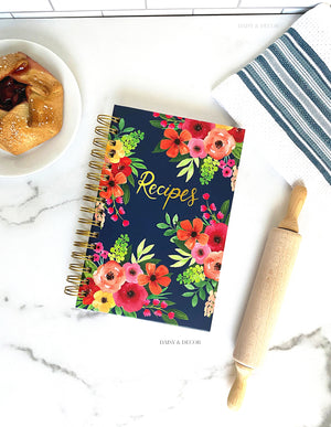 Hardcover Navy Floral Print Kitchen Recipe Journal
