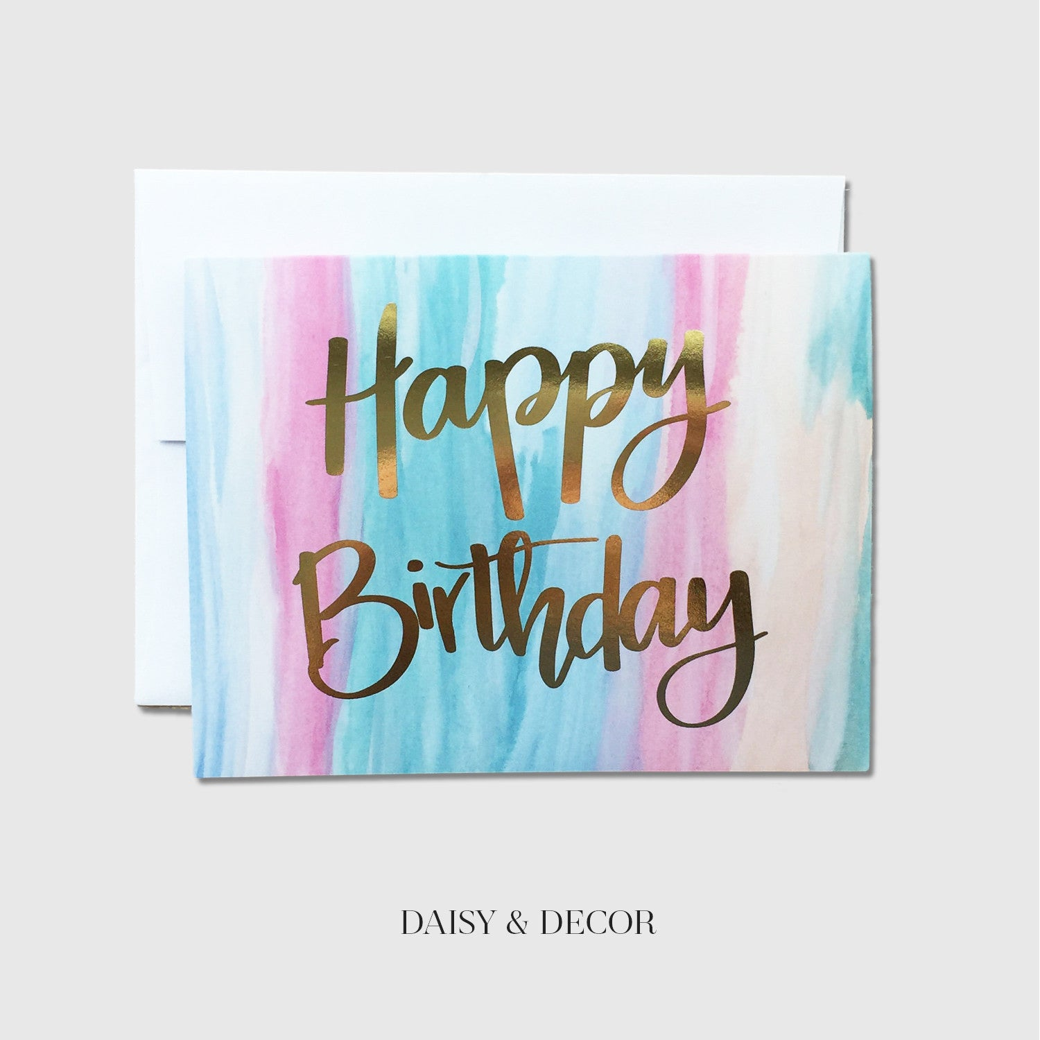 Happy Birthday Watercolor Greeting Card Daisy and Decor