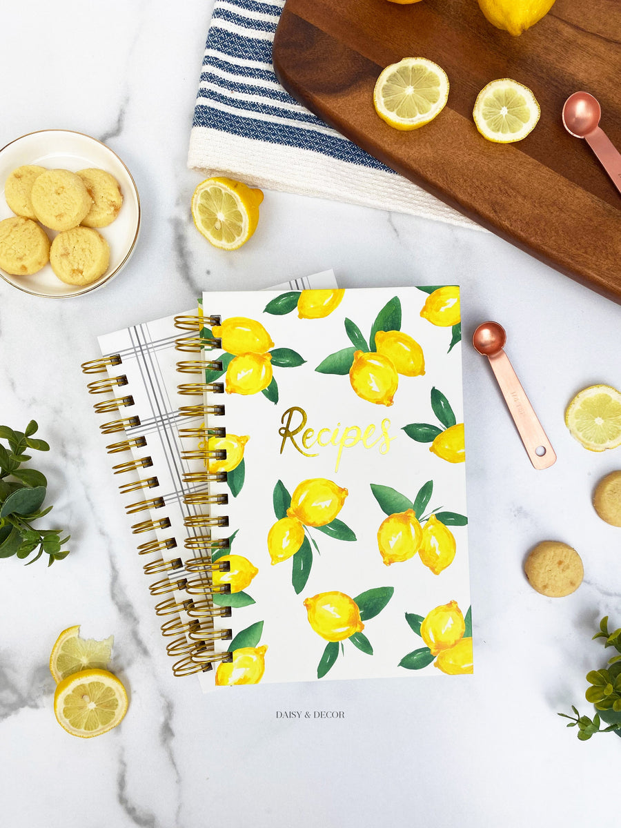 Daisy and Decor Hardcover Recipe journal, Recipe book, lemons cookbook, keepsake journal, lemons recipe book, Recipes journal, lemons book, wedding gift, Christmas gift, Memories book, Keepsake journal, lemons recipe journal