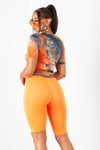 Neon Orange Seamless Biker Shorts