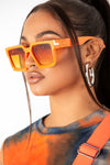 Orange Square Retro Frame Sunglasses