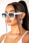 Baby Blue Square Retro Frame Sunglasses