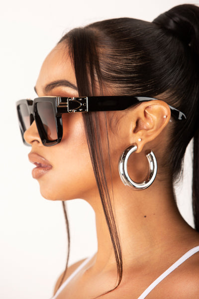 Brown Square Retro Lens Sunglasses