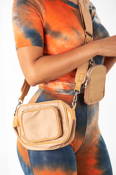 Tan Nylon Crossbody Bag
