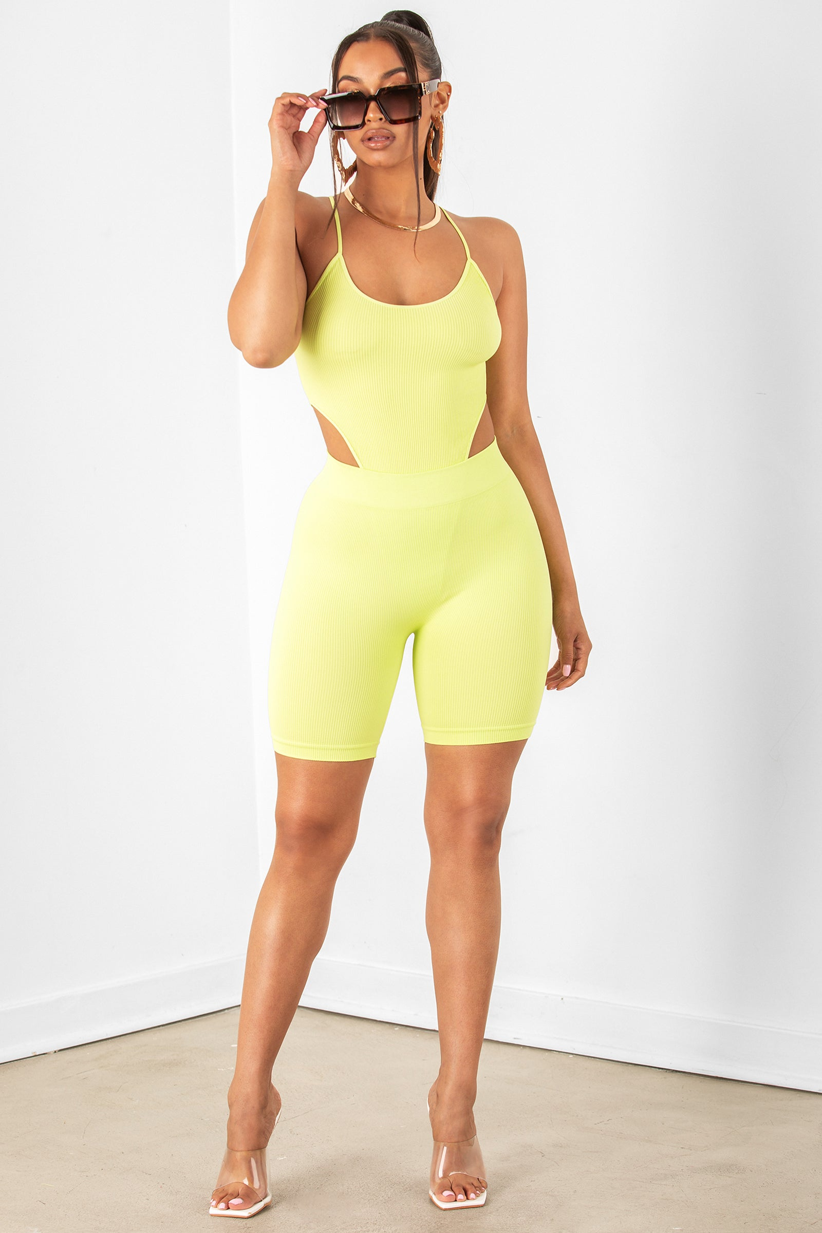 Lime Basic Ribbed Biker Shorts