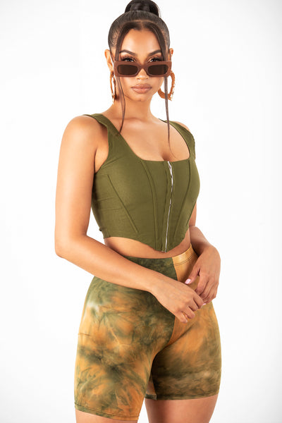 Olive Cropped Corset Tank