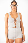 Grey Diamond Lace Up Tank