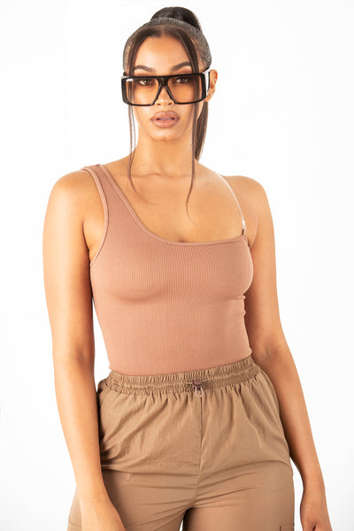Mocha Basic One Shoulder Top