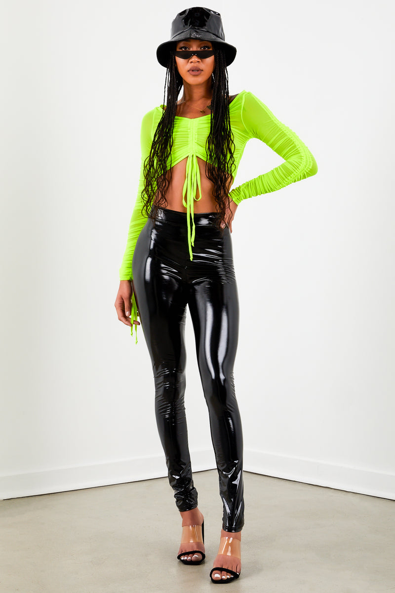 Neon Yellow Ruched Long Sleeve Crop