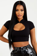 Sorella Black Cut Out Crop Top