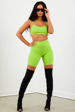 Sorella Lime Ribbed Biker Shorts