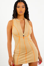 Sorella Nude Zip Up Dress