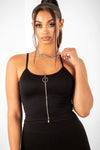 Black Zip Up Ribbed Crop