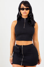 Sorella Black Ribbed Zip Up Mini Skirt