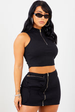 Sorella Black Zip High Neck Top