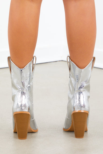 Silver Western Wooden Heeled Boots