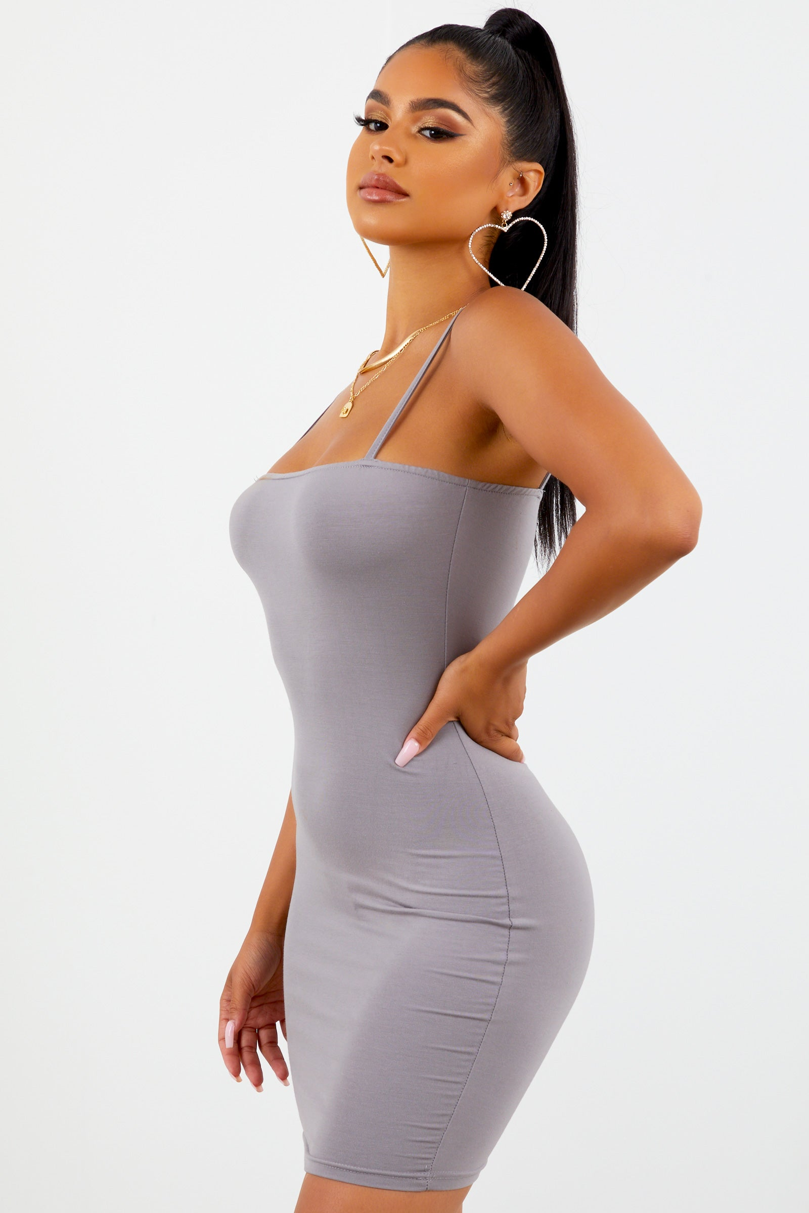 Spaghetti Strap Mini Dress - Grey