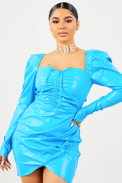 Sorella Blue PU Long Sleeve Dress