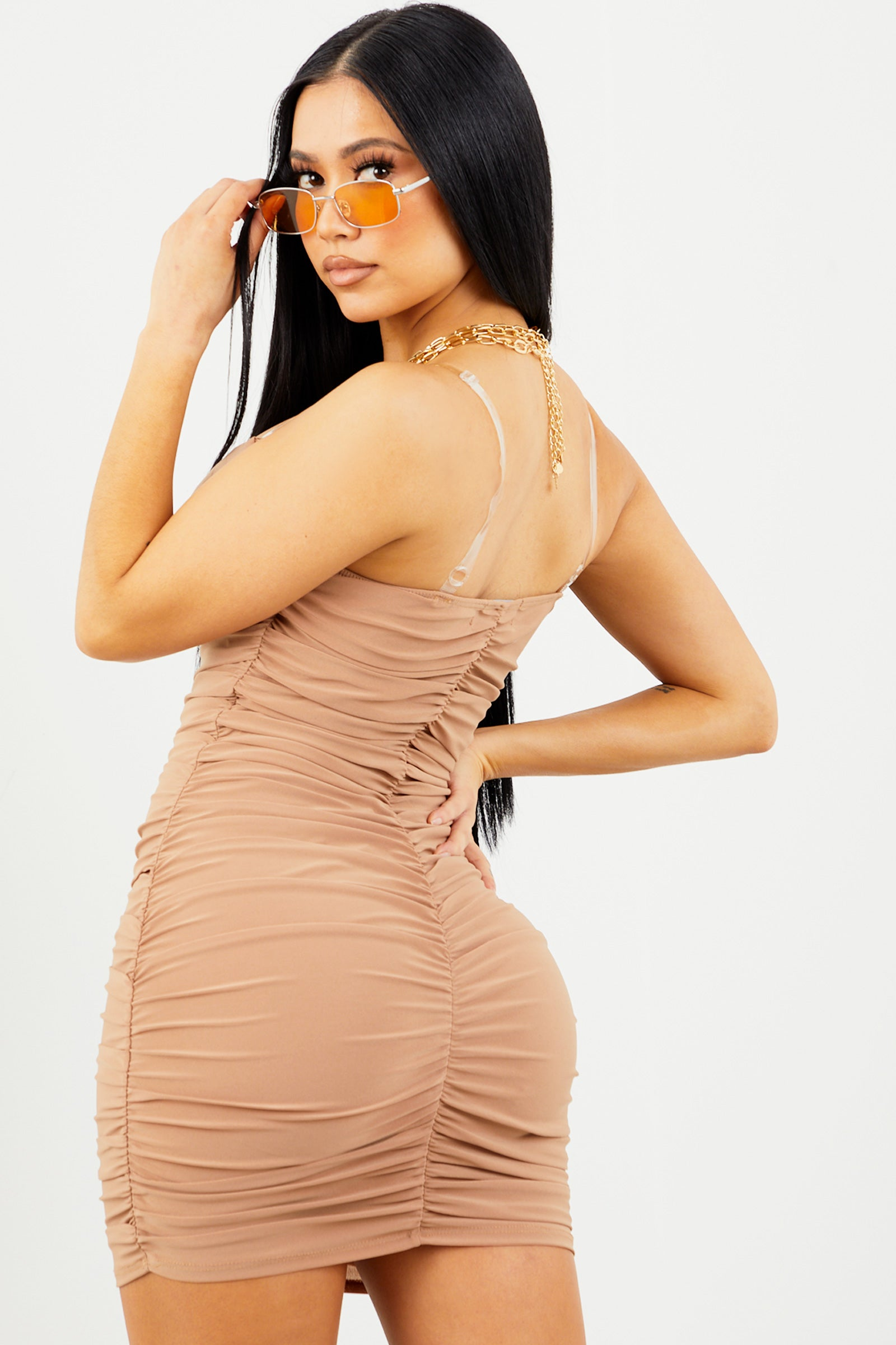 Beige Clear Strap Ruched Dress