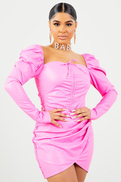 Sorella Neon Pink PU Long Sleeve Dress