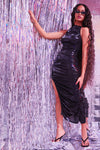 Sorella Black Maxi Metallic Dress