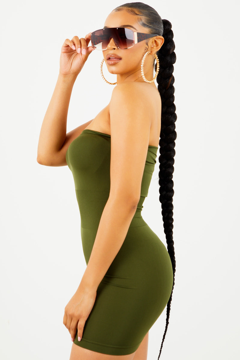 Olive Tube Top Dress by Sosorella, available on sosorella.com for $15 Kylie Jenner Dress SIMILAR PRODUCT