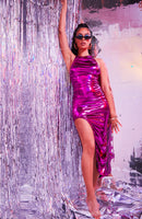 Sorella Magenta Maxi Metallic Dress