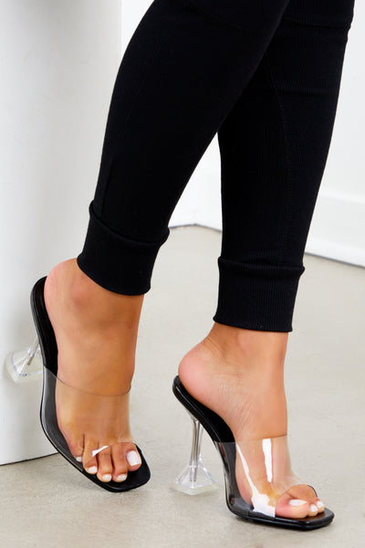 Black Clear Square Toe Heel