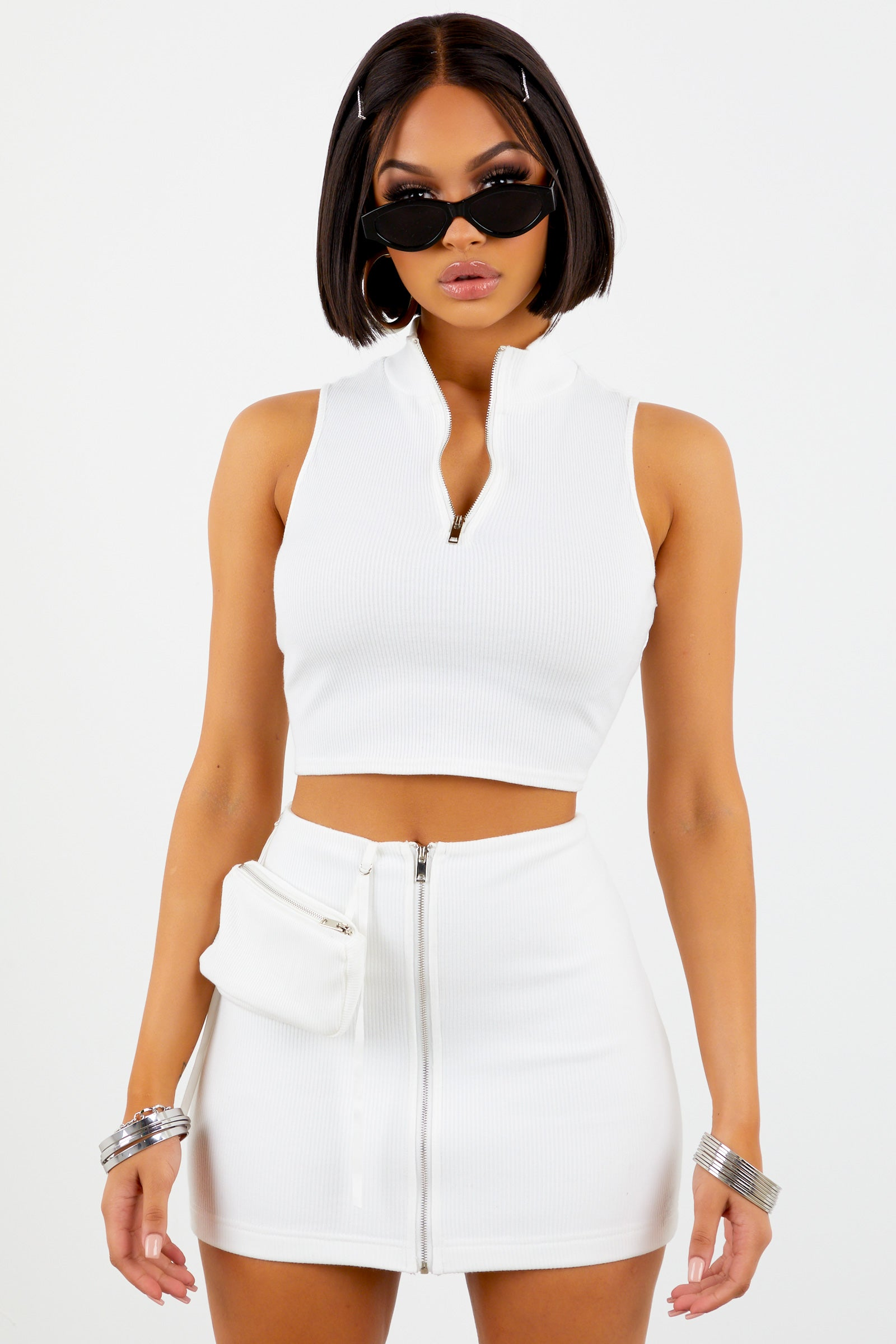 Sorella White Ribbed Zip Up Mini Skirt