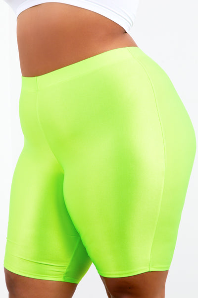 Neon Lime Shape Athletic Biker Shorts