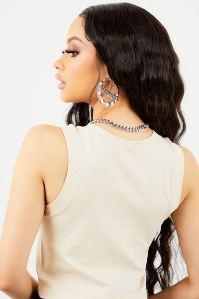 Jersey Racer Back Crop Top - Nude