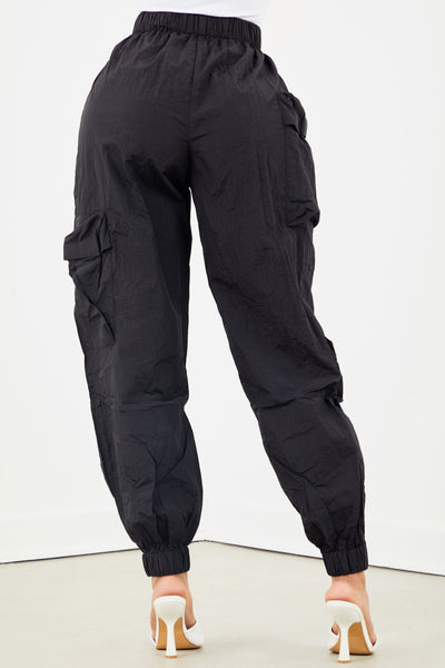 Black Nylon Windbreaker Joggers
