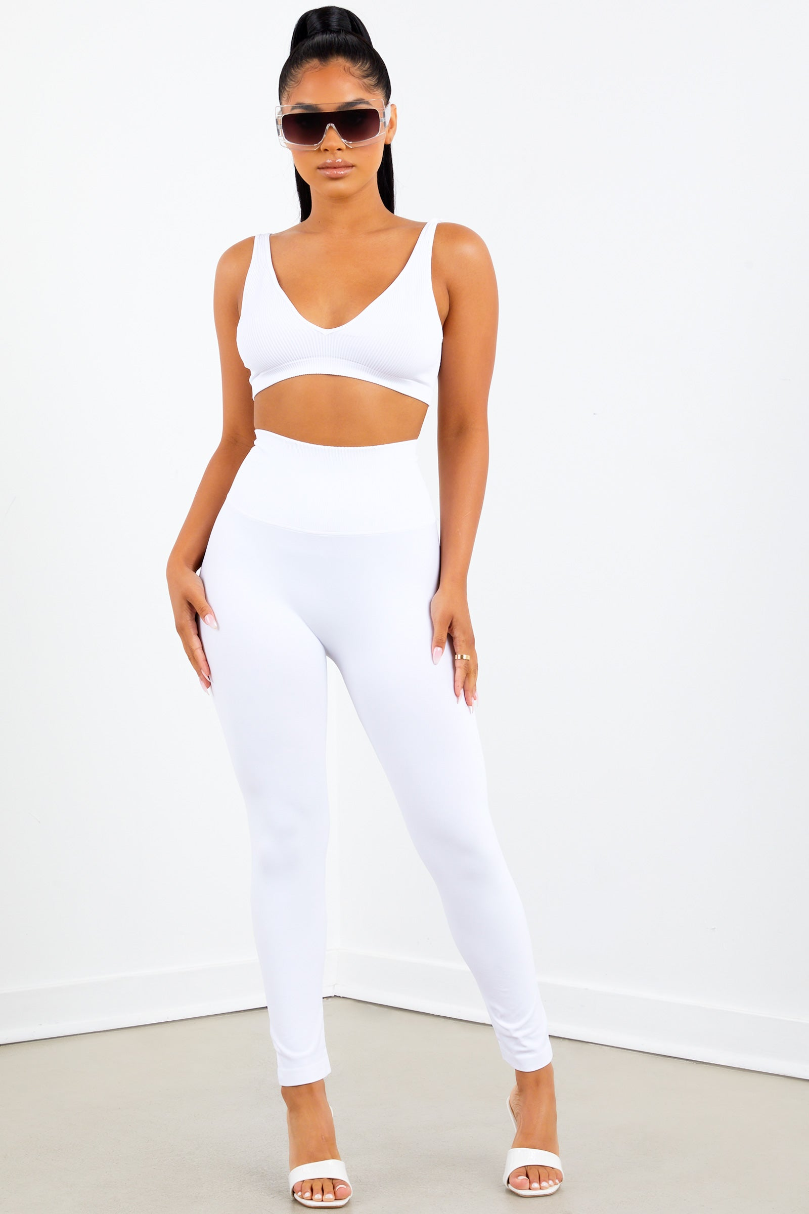 White High Waist Capri Leggings