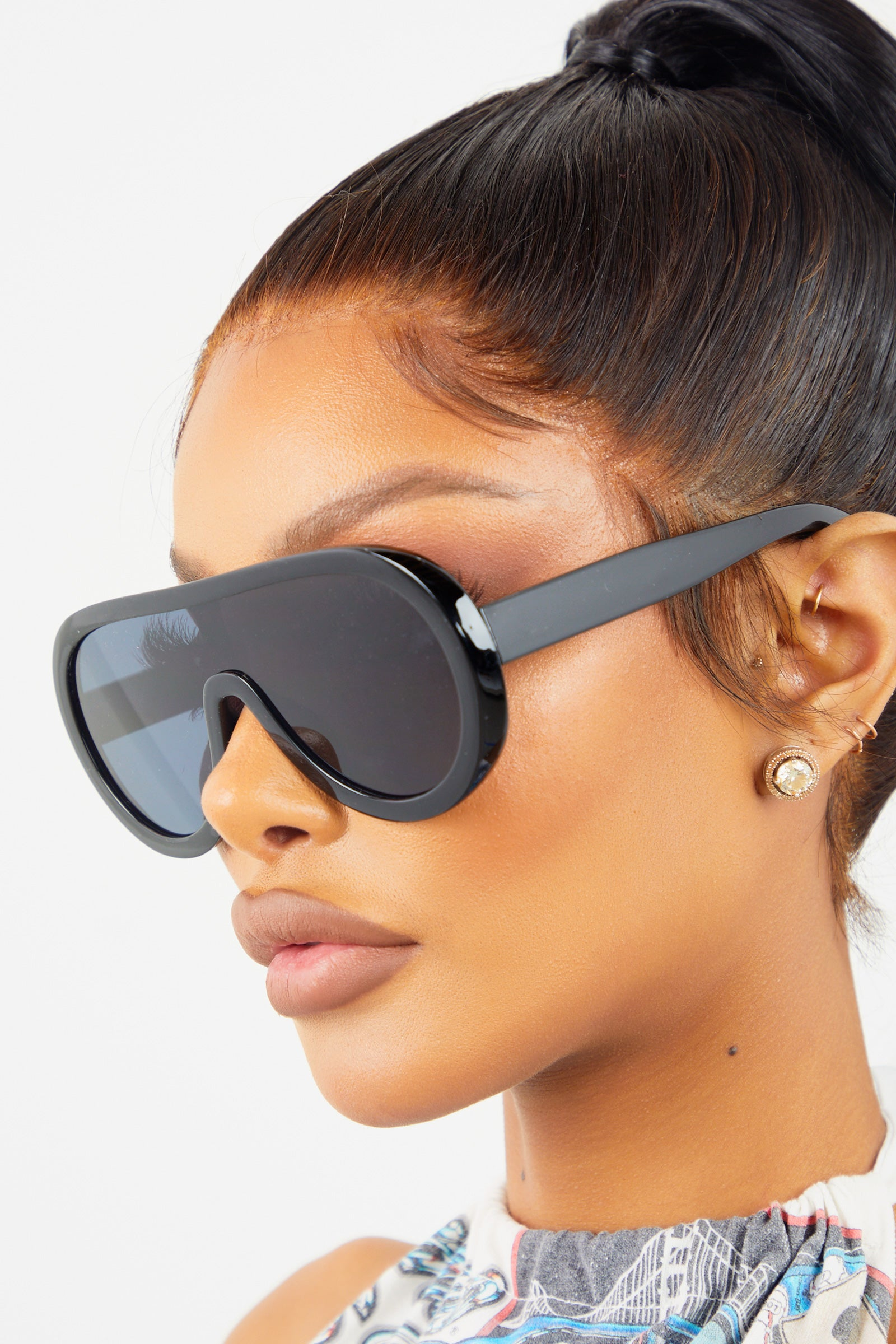 Black Oversized Drop Sunglasses