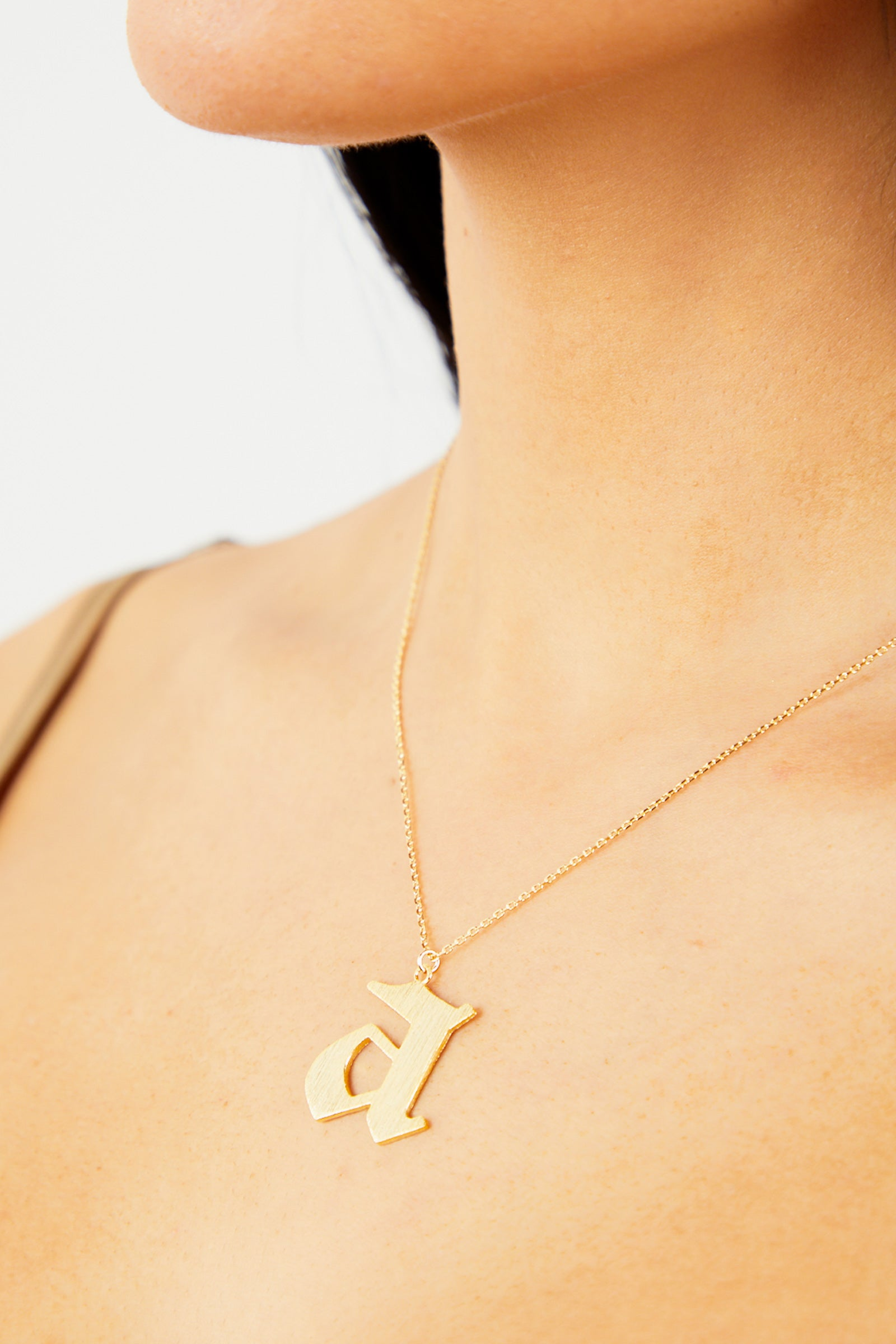 Letter A Thick Initial Necklace - Gold