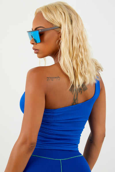 Royal Blue Basic One Shoulder Top