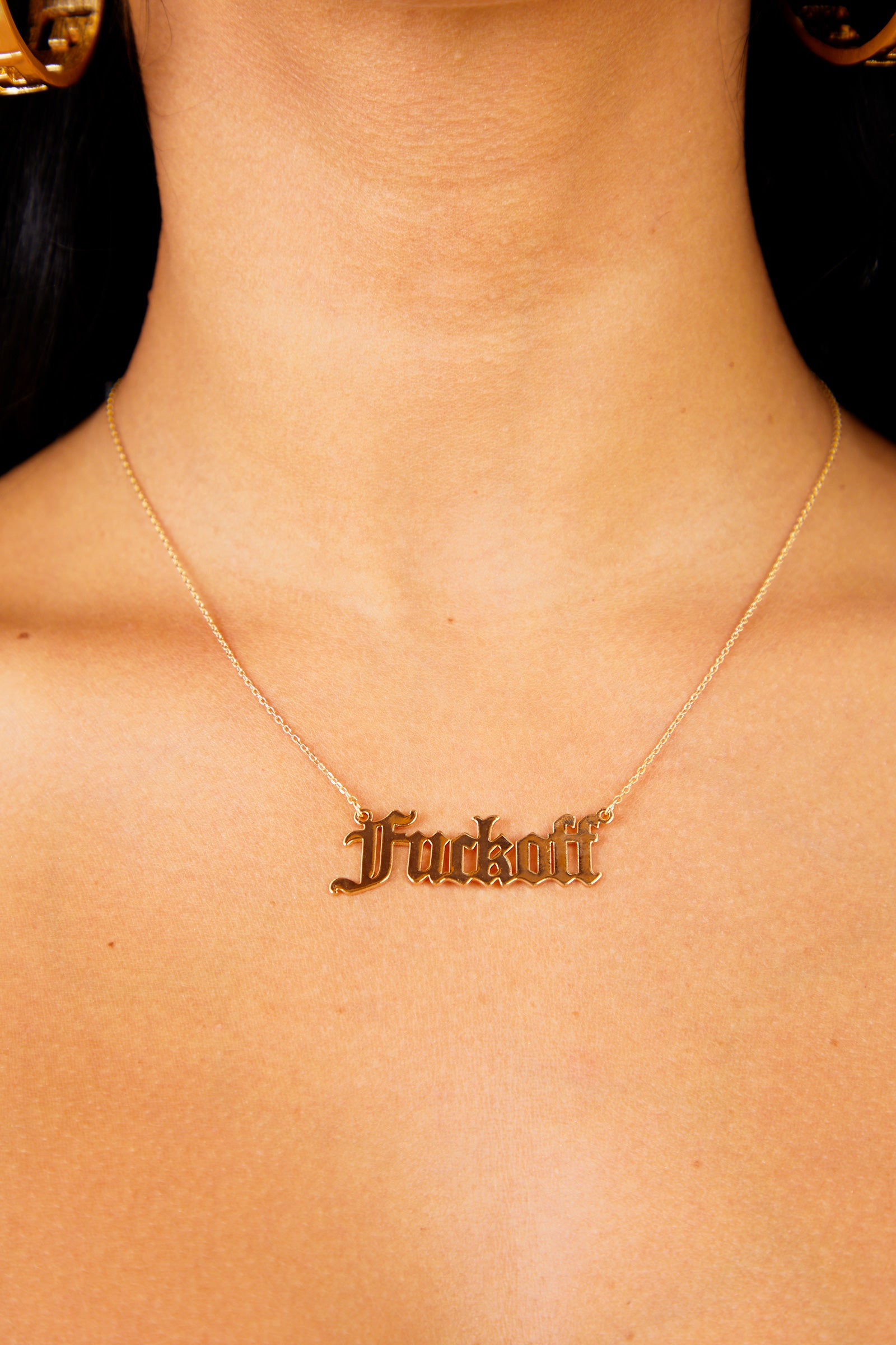 F**k Off Pendant Necklace - Gold