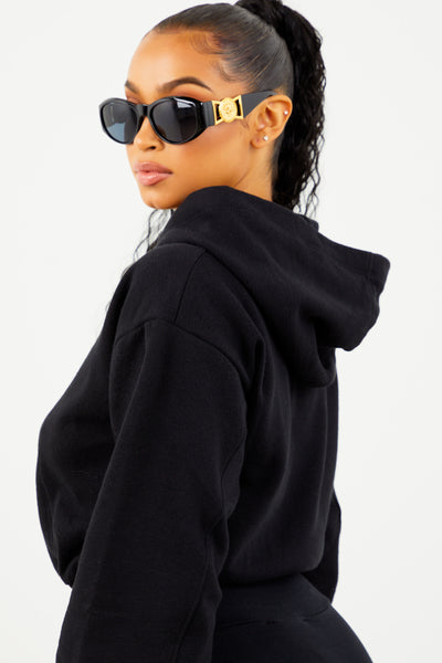 Black Fleece Cropped Hoodie