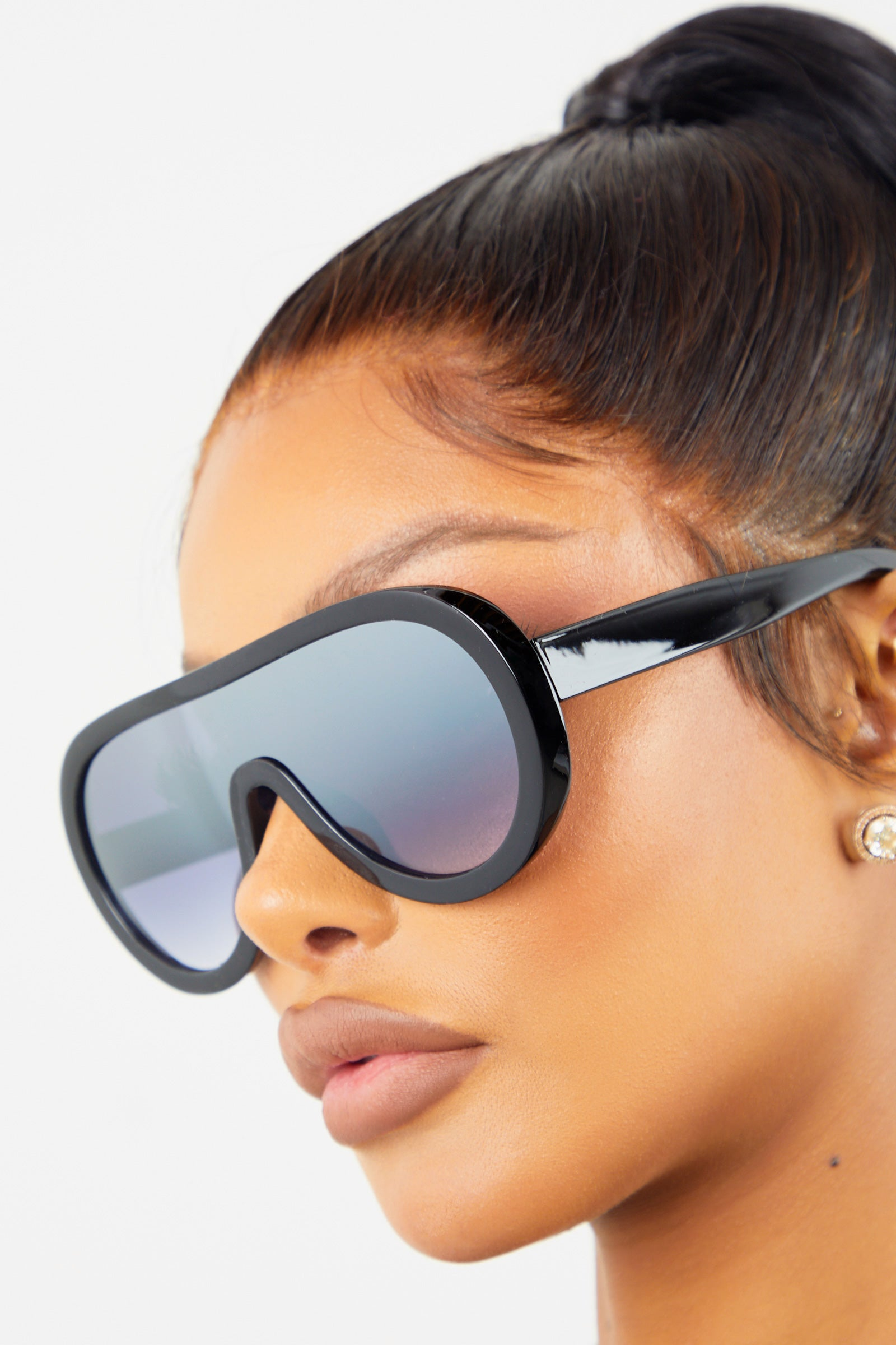 Black Mirror Oversized Drop Sunglasses