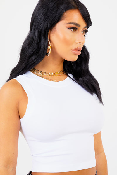White Jersey Racer Back Crop Top
