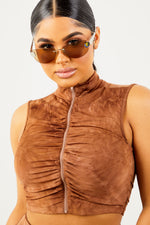 Sorella Brown Tie Dye Zip Up Top