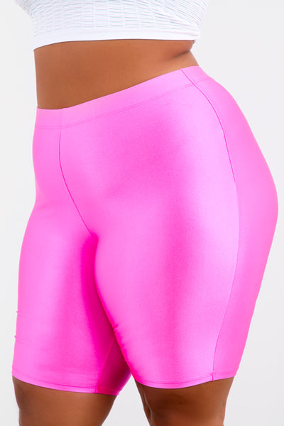 Neon Pink Shape Athletic Biker Shorts
