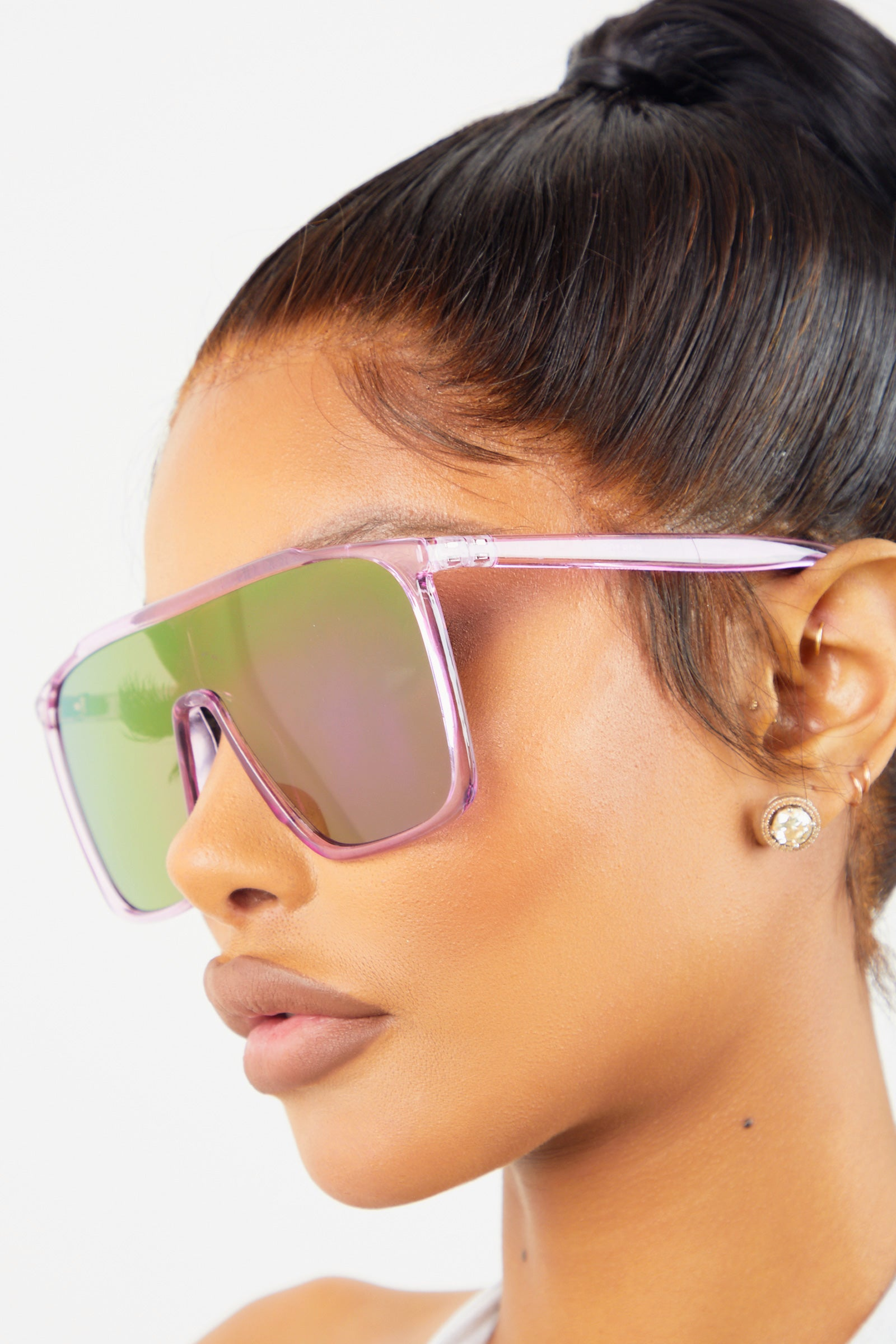 Purple Transparent Frame Sunglasses