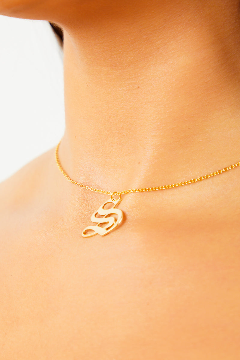 S Old English Initial Necklace